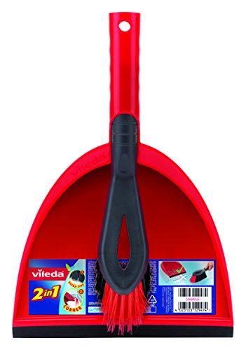 Vileda 141743 Kehrset 2-in-1 - sauber Auffegen in einem Zug - mit extra Borsten für Sauberkeit in den Ecken - leicht verstaubar