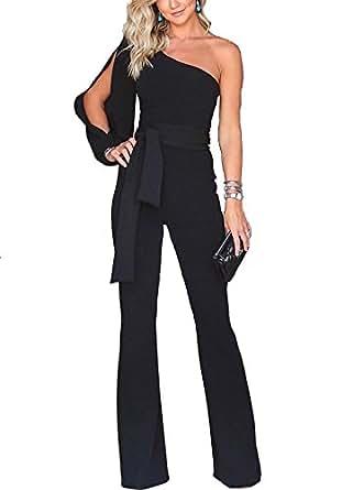 Ru Sweet Women One Shoulder Solid Jumpsuits Wide Leg Long Romper Pants with Belt