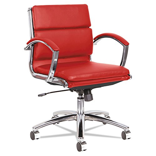 Price comparison product image Alera NR4739 Neratoli Low-Back Slim Profile Chair, Red Soft Leather/Chrome Frame