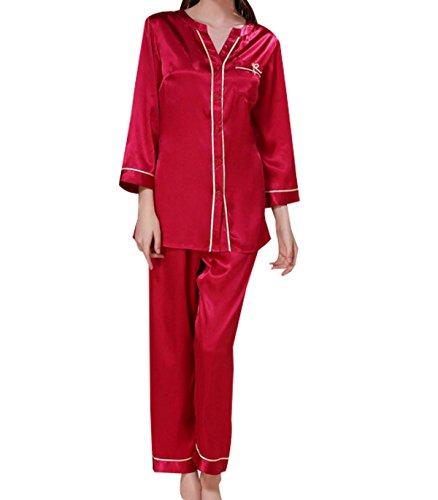 Alto Cuello Redondo Traje Pijama Sra Seda De Manga Larga De Verano WineRed