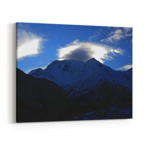 Rosenberry Rooms Canvas Wall Art Prints - MontBlanc Massif in an Early March Morning Light from StGervais, HauteSavoie, France Cloudy Mysterious Formstion Over Dme Du Goter, Aiguille (18 x 12 inches)
