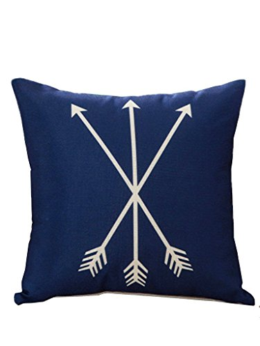 Selcet Blue Stylish Arrows Print Cotton Linen Square Throw Pillow Cases Covers for Home Decorative 18 X 18 IN