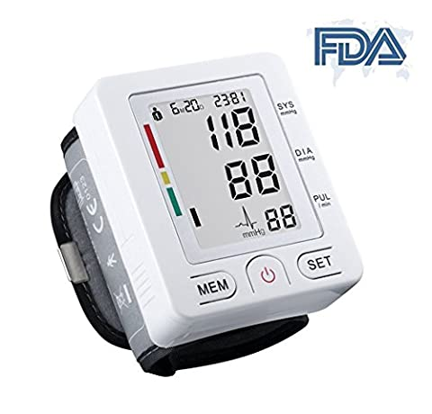 Automatic Wrist Blood Pressure Monitor FDA Approved with Portable Case, Two User Modes, Adjustable Wrist Cuff,IHB Indicator and 90 Memory Recall [2017 NEW VERSION] - Digit Finger Pulse Oximeter
