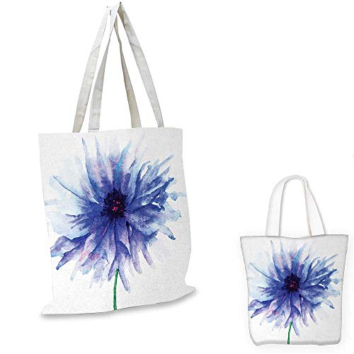 Personalized Petite Tote Bag - Watercolor Flower shopping tote bag Single Large Petite Cornflower Plain Background Mother Earth Paint travel shopping bag Navy Blue White. 12