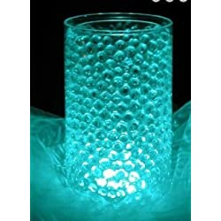 Bundle: 8 Oz. Cosmo Beads Brand; Premium Water Pearl Gel Beads & 10 Pieces Submersible LED Lights - Great for Party/Wedding Centerpieces (Turquoise) by Cosmo Beads