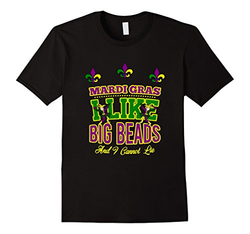 Men's Funny Mardi Gras Carnaval Clown T Shirt : I Like Big Beads  2XL Black (New Orleans Costume)