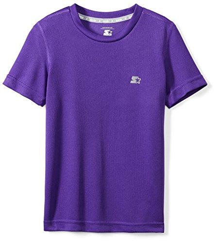 (Starter Boys' Short Sleeve Tech T-Shirt, Amazon Exclusive, Team Purple, L (12/14))