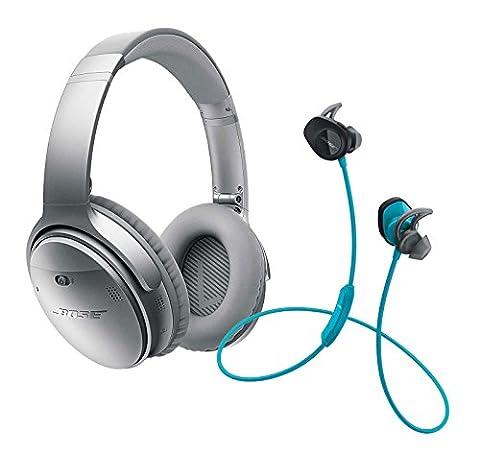 Bose QuietComfort 35 (Series I) Noise Cancelling Over-ear (Silver) & SoundSport In-ear (Aqua) Wireless Bluetooth Headphone (In Ear Noise Cancelling Bose)