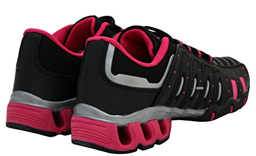 Womens Ladies Air Tech Girls Lace Up Shock Absorbing Running Fitness Sports Gym Trainers Shoes Sizes UK 4-8 Black/Fuchsia nIZEv4OcW