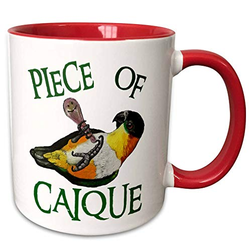 3dRose Skye Elizabeth Designs - Black Headed Caique with rattle - 15oz Mug (mug_308314_2) - 15-oz two-tone red mug