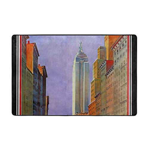 Avenue Rug Fifth - Fifth Avenue New York Art Deco Vintage Rugs Shoes Scraper Mat Non-Fading Flannel Washable Carpet Soft Home are Rugs for Unisex 60 X 39 in