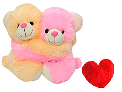 b1088c3fd9 Buy Saugat Traders Romantic Couple Teddy Bear Beige And Pink With Red Heart  Online at Low Prices in India - Amazon.in