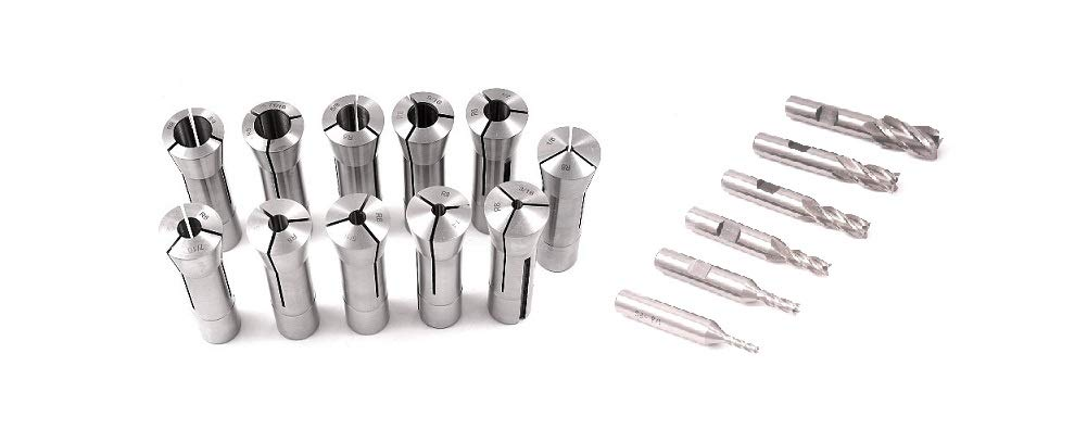 HHIP 4951-0010 11 Piece R8 Collet Set and 6 Piece 4 Flute End Mill Set