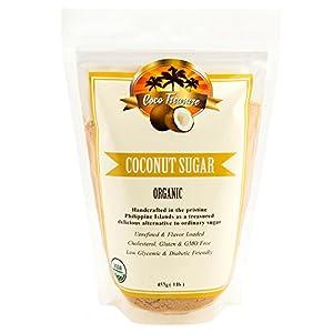 Coco Treasure Organic Coconut Sugar – Low Glycemic, Non GMO, Sugar Substitute for Recipes and Baking – 1 lb