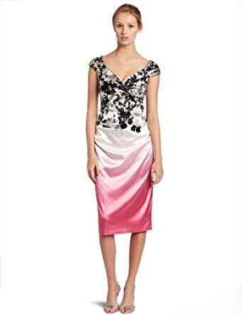 London Times Womens Cap Sleeve Sheath Dress with Sweetheart Neckline, Soft White/Pink, 6