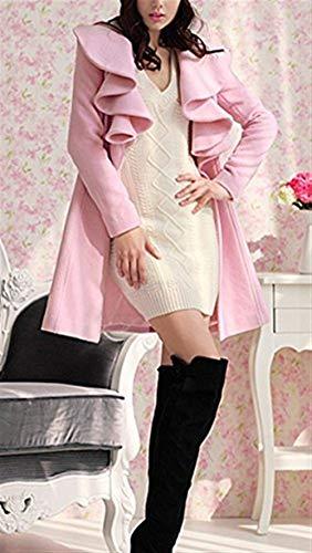 Outwear Manga Elegantes Abrigo Invierno Sólido Slim Mujer Lana Otoño Chaqueta Rosa Volantes Termica Largos Larga Color Fit Retro Con Hipster Abrigos xfAPwHzqT