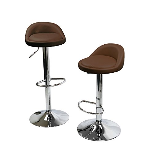 Style Round Weight Bar - MagshionSet Of 2 Brown Leather Round Style Swivel Adjustable Height Barstool Chair