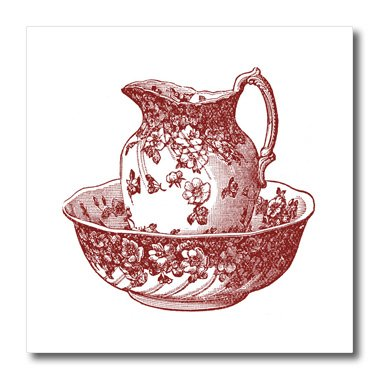 Transparent Pitcher (3dRose ht_80283_3 Maroon Red Antique Pitcher and Bowl Iron on Heat Transfer for White Material, 10 by 10