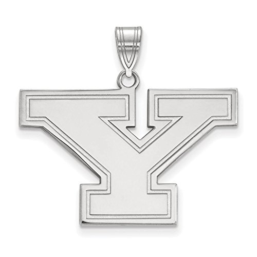 925 Sterling Silver Rhodium-plated Laser-cut Youngstown State University Large Pendant