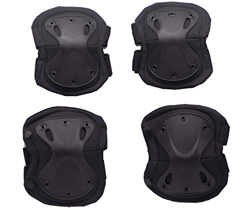 Military Tactical Knee and Elbow Pads Guard Set,Professional Skate Protective Pad,Advanced Army Combat Airsoft Hunting Paintball Outdoor Sports Safety Gear,Adjustable Straps Gel Cushion (Black)