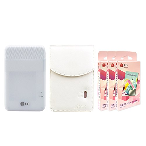 LG PD261 Portable Mobile Pocket Photo Printer [White] + Zink Sticker Paper 90 Sheets + Atout Premium Synthetic Leather Case [White] With Gift USB Cable [International Version] by LG