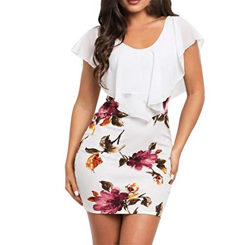 XVSSAA Ladies Sexy Print Bag Hip Dress, Summer Women Solid Color Ruffle Round Neck Waist Tight A-Line Dress (Mini Hip Monograms)