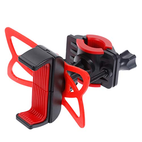 2TRIDENTS Bicycle Handlebar Holder with Silicon Support Band - Anti Shake Heavy Duty Silicone Mount for Motorcycle, Cycling Bike, Treadmill (Red)