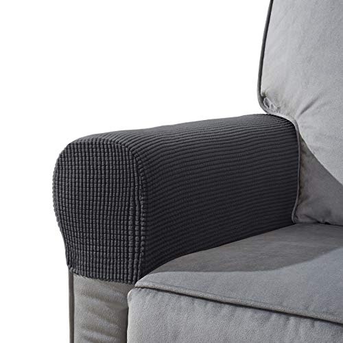 CHUN YI Set of 2 Stretch Polyester Sofa Armchair Armrest Covers Slipcovers Furniture Protector Spandex Fabric Jacquard Anti-Stain Washable Couch Arm Cover Slipcover (Armrest, Gray)