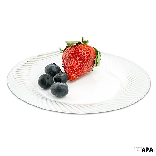 100 Premium Clear Plastic Plates for Party or Wedding - 6 Inch Fancy Disposable Plastics Plates by Ilyapa (Image #3)