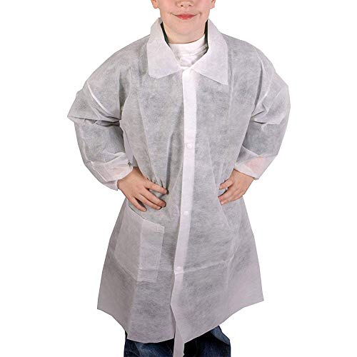 Cleaing Disposable Lab Coats for Kids with Elastic Wrists, White, Medium, 10 Pack]()