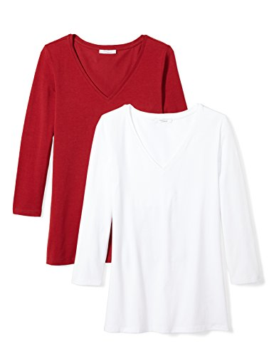Daily Ritual Women's Stretch Supima 3/4-Sleeve V-Neck T-Shirt, 2-Pack, L, White/Deep Red