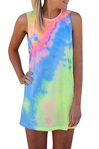 Creabygirls Womens Sleeveless Tie-dye Round Neck Mini Dress