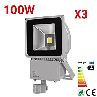 3 x 100 W reflectores LED luz blanca fría focos objeto lámpara con sensor de movimiento