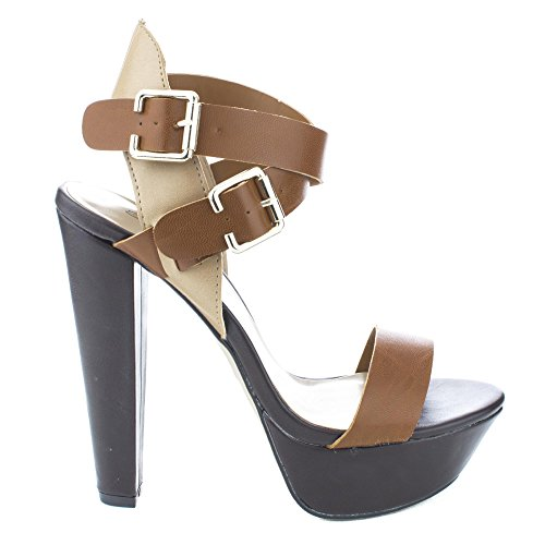 Bonnie25 Tan Double Buckle Ankle Wrap Chunky Heel Platform Pumps-6