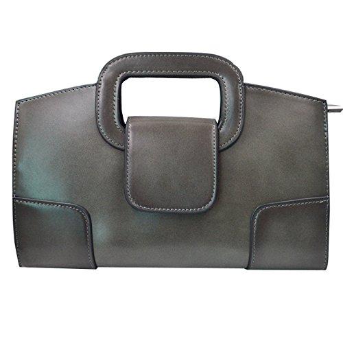 - Amily omen Vintage Flap Tote Top Handle Satchel Handbags PU Leather Clutch Purse Shoulder Bag Gray
