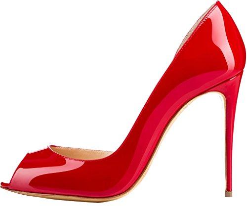 10CM Rouge Femme Calaier Aiguille sur Cawait Escarpins Glisser Chaussures 86T8xw