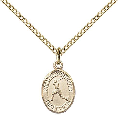 14kt Gold Filled St. Christopher/Baseball Pendant with 18