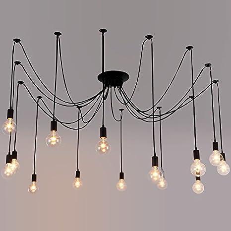 Industrial Vintage Edison Spider Light Litfad 14 Lights Multiple Ajustable Diy Ceiling Light Pendant Light Antique Large Barn Chandelier In Black For