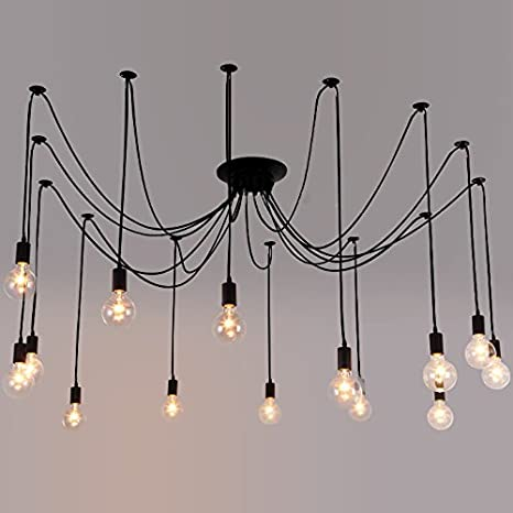 Industrial Vintage Edison Spider Light LITFAD 14 Lights Multiple Ajustable DIY  Ceiling Light Pendant Light