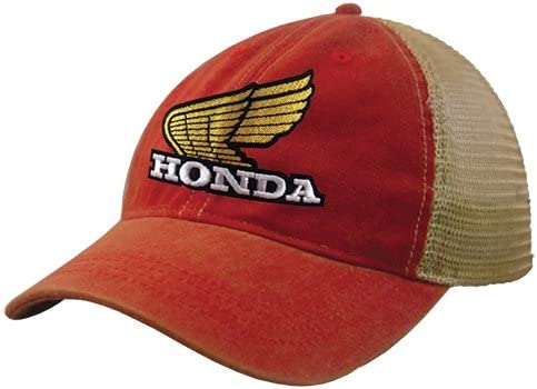 Honda Wing Retro Vintage Wash Official Licensed Snap Hat Red