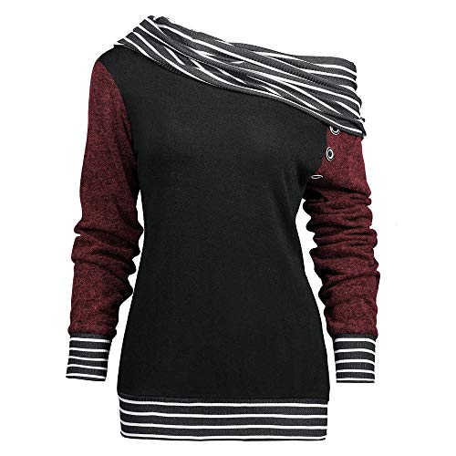 POTTOA Sweat Taille Printemps Chemisier Biais Top Vetement Femme Femme Bouton Pas Grande Fashion Cher Longues Fille Blouse Femme Manches Ray Les Patchwork Femmes de Rouge La Cou Mode aBxrBF