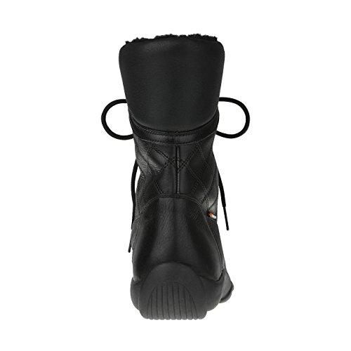 tessamino Damen Stiefel aus echtem Leder   Trekking   Weite G & H   für Einlagen Schwarz