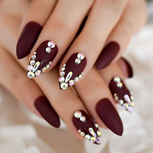 CoolNail 3D Shinning Rhinestones Matte Burgundy Stiletto Fake Nails Oval Almond Pointed Frosted Press on Designs False Wear Nail