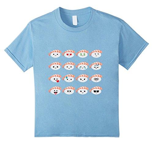 [Kids Prawn Shrimp Sushi Emoji Many Face Emotion Shirt T-Shirt Tee 4 Baby Blue] (Baby Shrimp Sushi Costume)