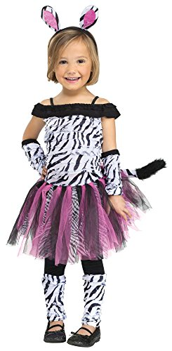 Fun World Costumes Baby Girl's Zebra Toddler Costume, Black/White, Large(3T-4T) - Zebra Costumes For Toddlers