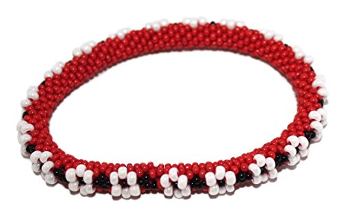Crochet Bracelet Glass Seed Bead Bracelet Roll on Bracelet Nepal Bracelet SB356