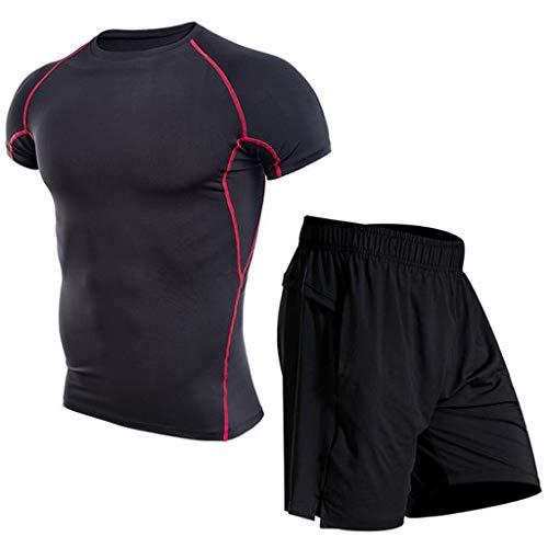 Men Sport Sets,Jchen Mens Fitness Bodybuilding Skin Tight-Drying Short Sleeve Tops Shorts Sport Suit Sets (3XL / US:36, Red)