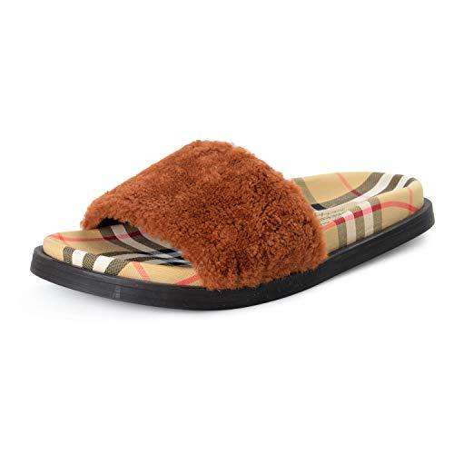 BURBERRY Women's Checkered Real Fur Sandals Flip Flops Shoes Sz US 8 IT 38 Tan