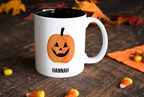 Personalized Halloween Mug Birthday Gifts - Unique Coffee Lovers Gift (15oz Halloween Mug, Hannah -