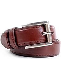 Double Loop & Stitched Men's Leather Belt